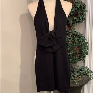 BEBE Black Halter Dress with Center Large Bow